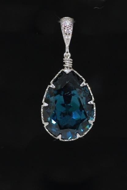 Cubic Zirconia Detailed Pendant with Swarovski Montana Blue Teardrop Crystal - Wedding Jewelry, Bridesmaid Gift, Bridal Jewelery (P052)
