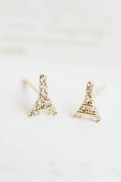Cz Eiffel Tower earrings,wedding gift,Christmas Gift,bridal earring,anniversary gift,engagement earring,bridesmaid earring,E117R