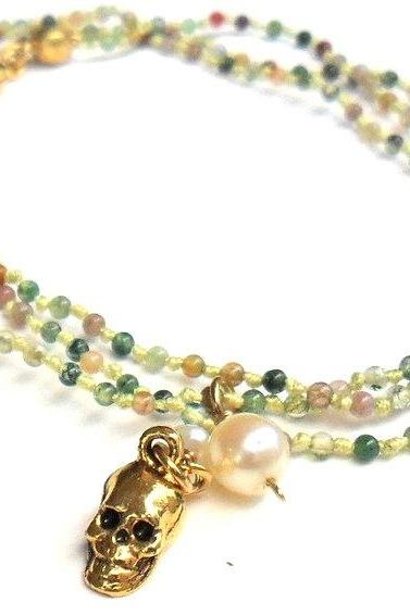 Necklace Multicolored Agate beads hand-knotted pure silk gold tiny skull charm white pearl tiny agate beads spring fashion