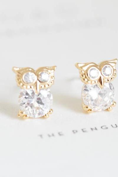 owl earrings/jewelry earrings/sterling earrings/prom earrings/wedding earrings/cz stud earrings/crystal earrings/silver earrings,E038R
