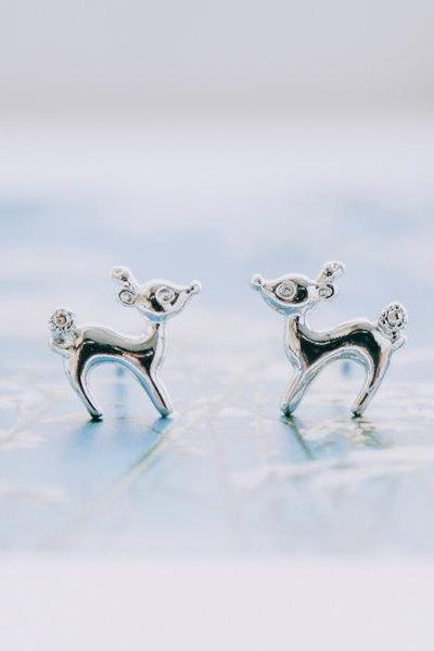 Bambi silver stud earrings/earrings silver/studs earrings/teens earrings,E047R