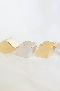 3d square earrings/post earrings/silver earrings,E078R