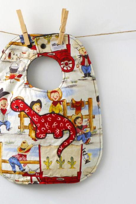 Retro Cowboys with a Dinosaur Oversized Baby Bib - Great Baby Shower GIft!