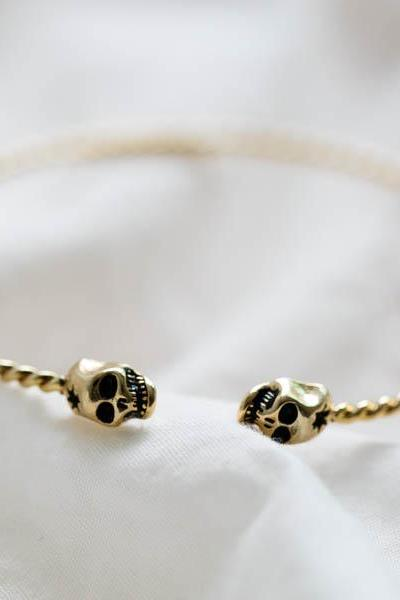 mini skull bangle bracelet,Jewelry,Bracelets,Bangle,,jewelry,jewel,bracelet,bangle,skull,,bridesmaid jewelry,bridesmaid gift,B059R