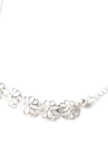Necklace Sterling silver flowers bar dainty chain Simple everyday necklace