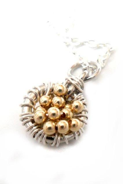 Necklace Pendant Charm sterling silver Gold filled beads -Full of wishes- Metallic. Valentine's Gift For Her Under 30