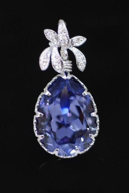 Cubic Zirconia Detailed Orchid Pendant with Swarovski Tanzanite (Purple) Teardrop - Wedding Jewelry, Bridesmaid Gift, Bridal Pendant (P019)