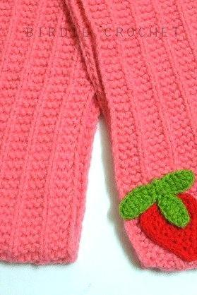 Strawberry Cake Scarf 63' - Christmas Gift Hand Knitted Winter Long Pink Girls Scarf Children Gift