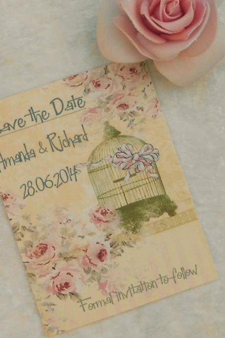 Vintage Save the Date Cards - Gold Birdcage (Ref 59) Set of 10