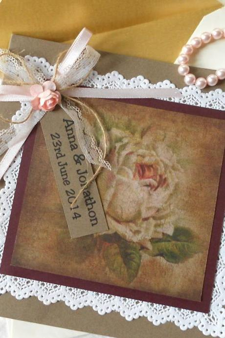 Vintage Rustic Wedding Invitations x 5 Antique Rose (Ref 145)