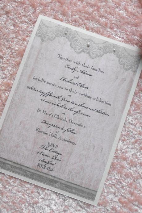 Vintage Wedding Invitations x 5 Personalised Pink Lace (Ref 21)