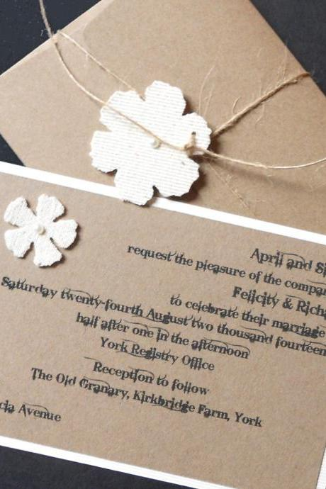 Rustic Country Chic Wedding Invitations and RSVP x 5 (Ref 149)