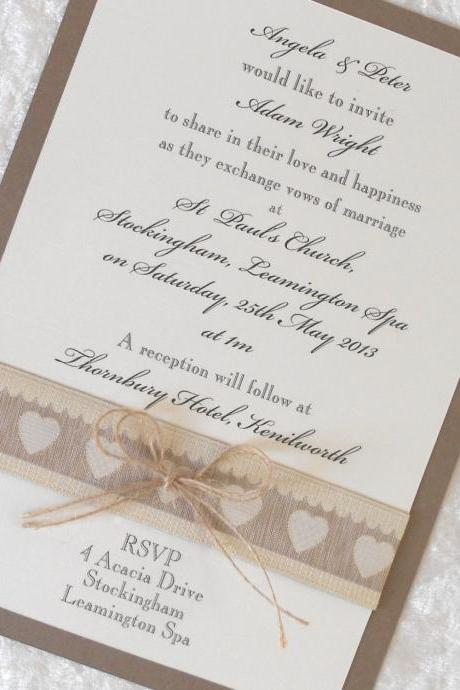 Rustic Country Chic Wedding Invitations x 5 Personalised Primitive Hearts (Ref 21)