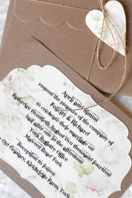 Rustic Wedding Invitations Pink Cream Brown Heart x 5 (Ref 150)