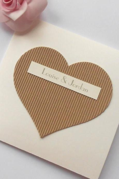 Rustic Wedding Invitations Cream Brown Heart x 5 (Ref 109)