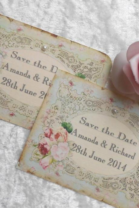 Vintage Save the Date Cards - Ornate Frame Vintage Lace (Ref 62) Set of 10