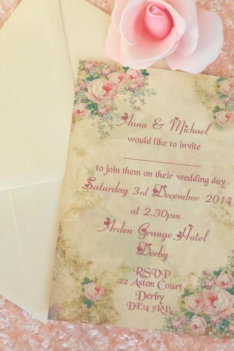 Vintage Wedding Invitation Shabby Romantic Roses (Ref 96) x 5