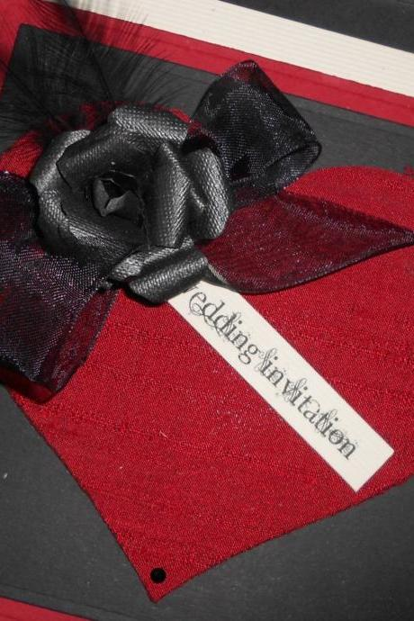 Gothic Wedding Invitation RSVP Favour Red Black x 5 (Ref 156) Gothic Beauty