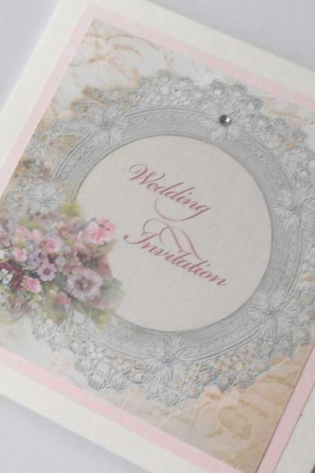 Vintage Shabby Chic Wedding Invitation Lace Frame x 5 (Ref 19)