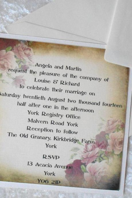 Vintage Shabby Chic Wedding Invitation with Roses on Grunged Background (Ref 153