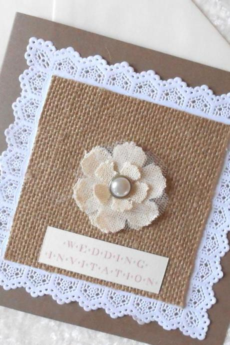 Rustic Wedding Invitation with Burlap Hessian x 5 (Ref 152)