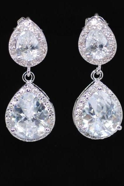 Wedding Earrings, Bridesmaid Earrings, Bridal Jewelry - Cubic Zirconia Teardrop Earring with Cubic Zirconia Teardrop (E339)