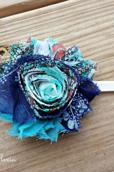 Blue Peacock Shabby Flower Stretch Headband