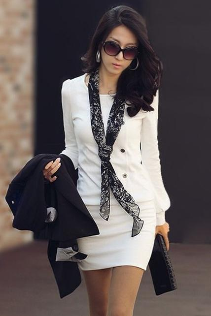 OL Long Sleeve Button Decoration Sheath Dress - White