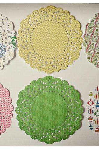 Christmas Paper Doily peppermint paper / pack for cardmaking, party decoration, scrapbooking