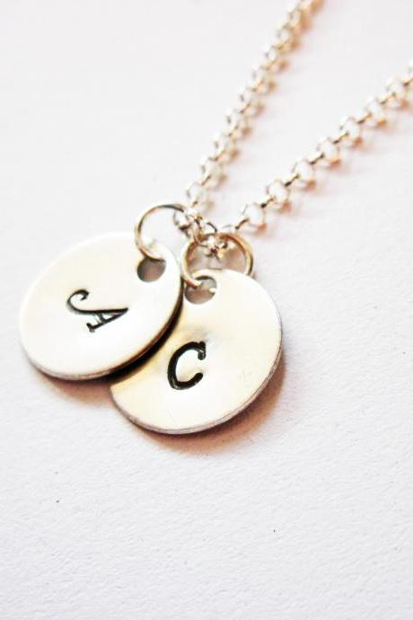 Two Initials Necklace, two discs Silver necklace, engraved monogrammed necklace, personalized necklace, hand stamped necklace