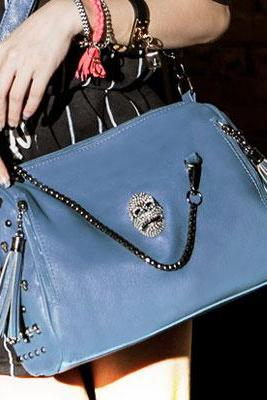 Vintage Rhinestone Skull Tassels Rivet Shoulder Bag