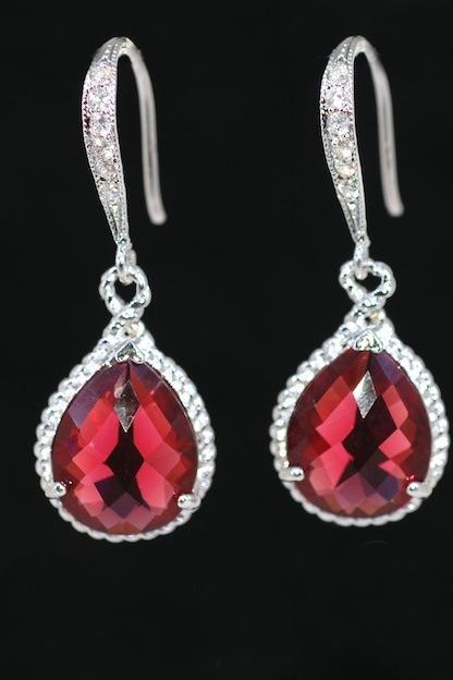 Wedding Earrings, Bridesmaid Earrings, White Gold Plated Sterling Silver Cubic Zirconia Detailed Earring Hook with Ruby Teardrop Glass Quartz (E351)
