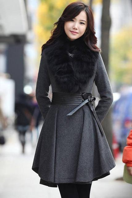 Fashion Fur Collar Sheared Waist Woolen Coat - Dark Grey