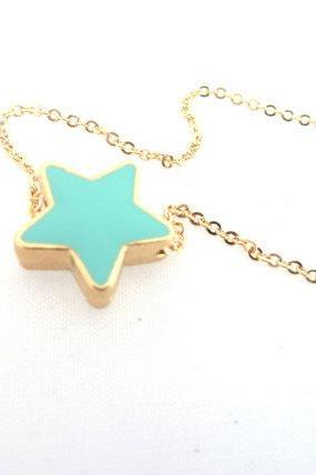 Aqua Star Necklace, Dainty Star Necklace, Turquoise Tiny star Jewelry, Double Sided Star Jewelry, Bridesmaid Necklace, Gold Enamel Star