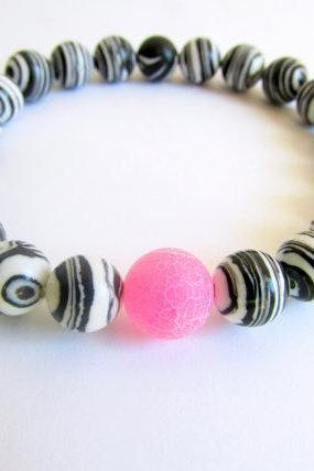 Zebra beaded bracelet, Black Striped Bangle, Black White Stretch Bracelet, marble bead bangle, Hot Pink Agate Bracelet, Turquoise Bracelet