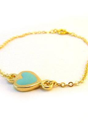 Blue Heart Bracelet, Dainty Gold Bracelet, Gold Heart Jewelry,Enamel Love Bracelet,Valentines Day, Bridesmaid Bracelet, Heart Bridal Jewelry