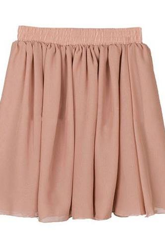*free ship* Pink Pleated Chiffon Mini Skirt