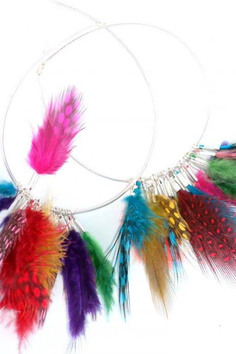 Hoop Earrings Feathers Sterling Silver hoops with colorful mini feathers mixed colors Boho Rainbow Earrings Gift for her