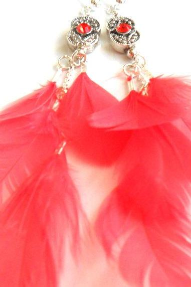 Bohemian Chic Feather Earrings Sterling Silver swarovski crystal Coral reef feather dangle High Fashion Trendy coral reef Gift for her