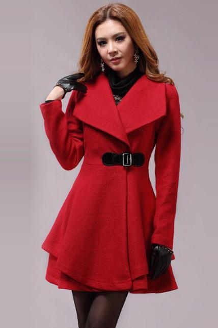 Lovely Dress Pattern Turndown Collar Woolen Coat - Red