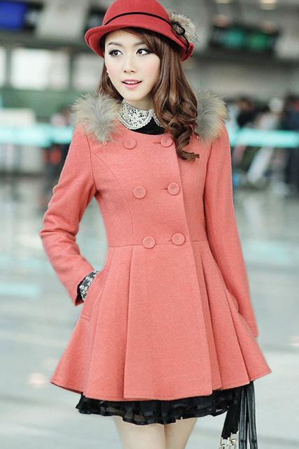 Pink Faux Fur Double Breasted Trench Coat