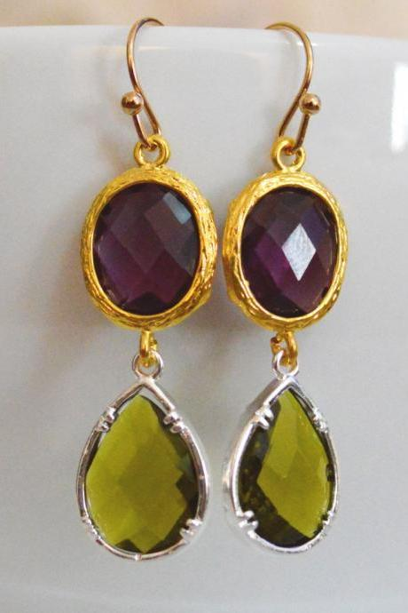 SALE) B-027 Glass earrings, Amethyst&khaki drop earrings, Dangle earrings, Gold and silver plated/Bridesmaid gifts/Everyday jewelry/