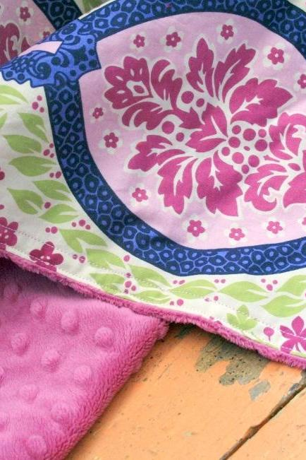 Minky Baby Blanket in Garden Damask and Raspberry Minky Dot