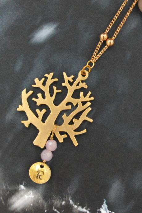 A-017 Personalized initial disc with pink jade, Tree necklace, Gold plated ball chain/Bridesmaid/Everyday jewelry/