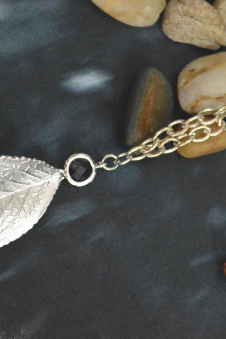 A-036 Leaf pendant with champagne glass necklace, Modern necklace, White gold rhodium plated chain/Special gifts/ Everyday jewelry/