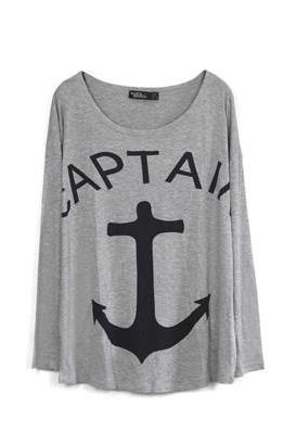*free ship* Grey Anchor Print Loose T-shirt