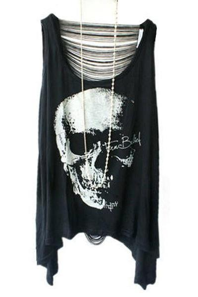 *free ship* Skeleton Print Fringe T-shirts