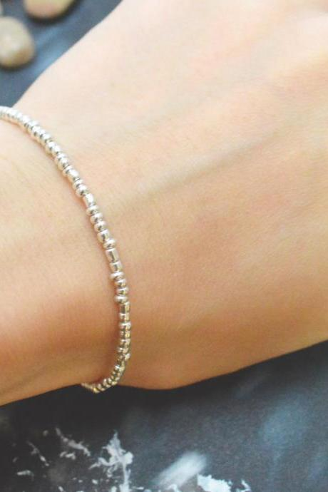 C-065 Silver Beaded bracelet, Seed bead bracelet, Simple bracelet, Modern bracelet/Everyday jewelry/