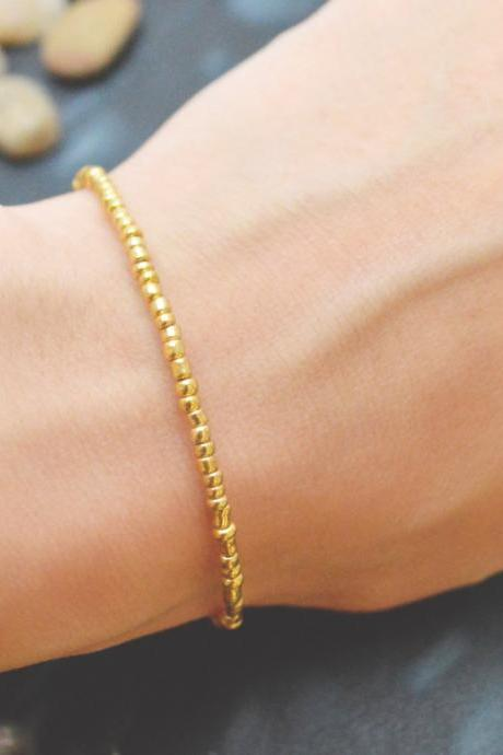 C-064 Gold Beaded bracelet, Seed bead bracelet, Simple bracelet, Modern bracelet/Everyday jewelry/