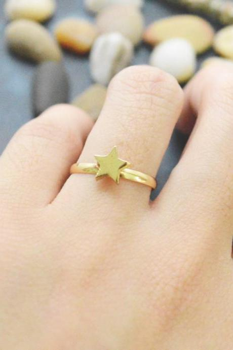 E-047 Star ring, Adjustable ring, Stretch ring, Simple ring, Modern ring, Gold plated ring/Everyday/Gift/